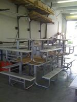 "All aluminum pre-powdercoated 4'x4' picnik tables with cnc bent 1 1/2"" pipe legs and formed 1/8"" table top and benches"